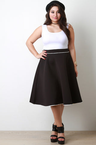 Contrast Piping Scuba Knit A-Line Skirt - Beauty & Bronze Clothing and Accessories