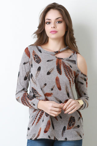 Asymmetrical Cold Should Feather Top - Beauty & Bronze Clothing and Accessories