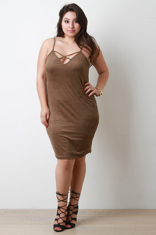 Crisscross V Neck Suede Bodycon Cami Dress - Beauty & Bronze Clothing and Accessories
