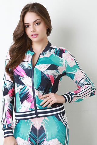 Colorful Brushed Print Zip Up Jacket - Beauty & Bronze Clothing and Accessories