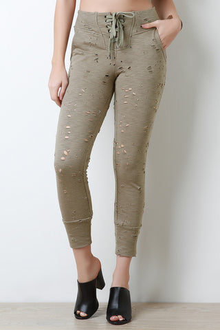 Distress Lace Up Jogger Sweats Pants - Beauty & Bronze Clothing and Accessories