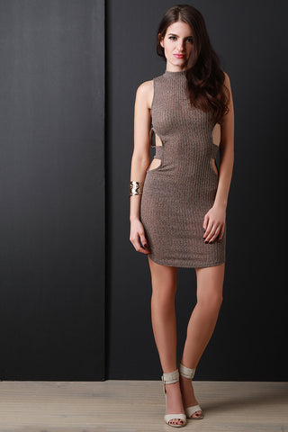 Open Back Mock Neck Rib Knit Mini Dress - Beauty & Bronze Clothing and Accessories