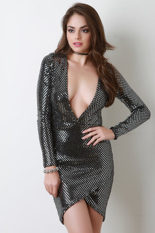 Diamond In The Rough Deep V Bodycon Dress - Beauty & Bronze Clothing and Accessories