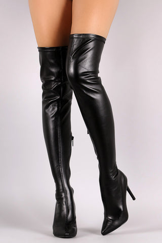 Breckelle Stretch Leather Pointy Toe Stiletto Heel Boots - Beauty & Bronze Clothing and Accessories