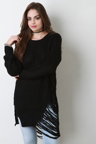 Asymmetrical Shredded Rib Knit Sweater - Beauty & Bronze Clothing and Accessories