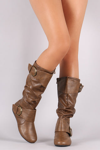 Double Buckle Slouchy Knee High Boots - Beauty & Bronze Clothing and Accessories