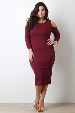 Cold Shoulder Ribbed Knit Midi Dress - Beauty & Bronze Clothing and Accessories