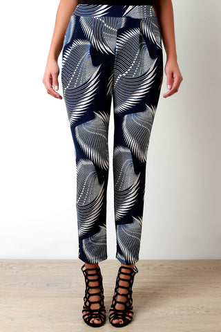 Abstract Blades Print High Waist Pocketed Pants - Beauty & Bronze Clothing and Accessories