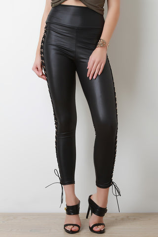High Waist Vegan Leather Laced Leggings - Beauty & Bronze Clothing and Accessories