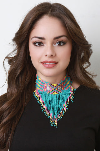 Colorful Navajo Beaded Fringe Choker - Beauty & Bronze Clothing and Accessories