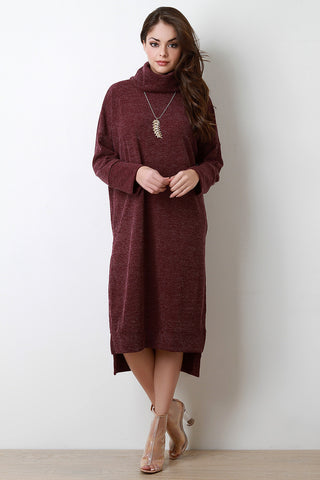 Cozy Cowl Neck Sweater Dress - Beauty & Bronze Clothing and Accessories