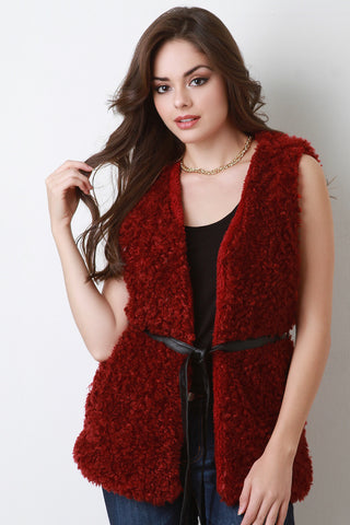 Faux Shearling Belted Vest - Beauty & Bronze Clothing and Accessories