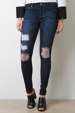 Dark Wash Distress Skinny Jeans - Beauty & Bronze Clothing and Accessories