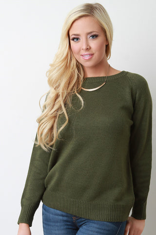 Lace Up Shoulder Blade Knit Sweater - Beauty & Bronze Clothing and Accessories
