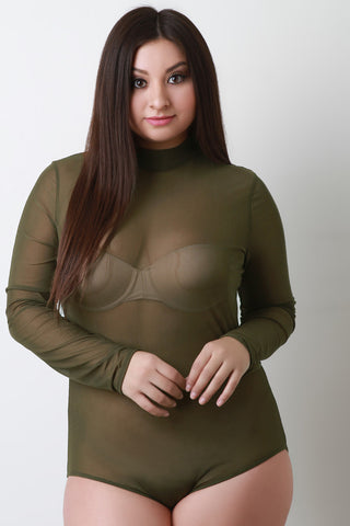 Semi-Sheer Mesh Mock Long Sleeve Bodysuit