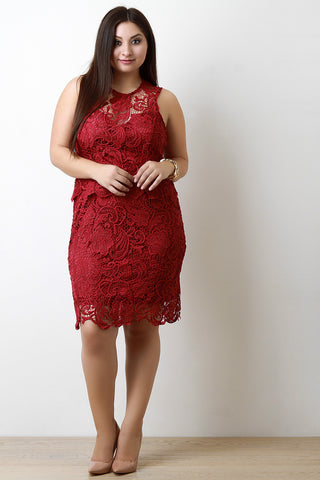 Crochet Lace Sleeveless Cocktail Dress - Beauty & Bronze Clothing and Accessories