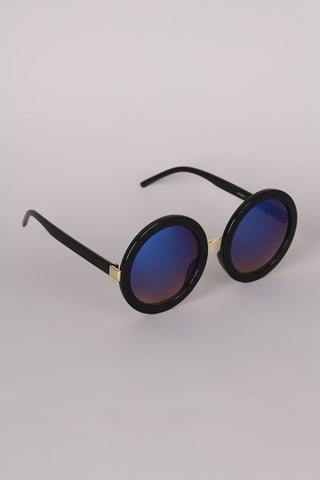 Mirrored Round Plastic Frame Sunglasses - Beauty & Bronze Clothing and Accessories