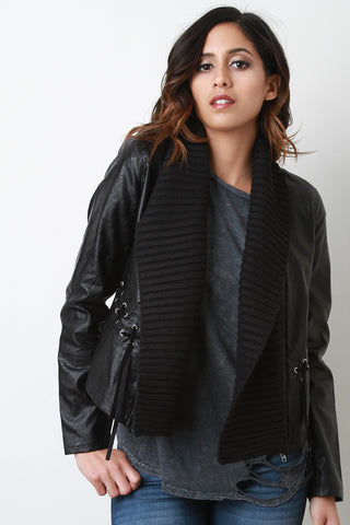 Contrast Shawl Collar Vegan Leather Jacket - Beauty & Bronze Clothing and Accessories