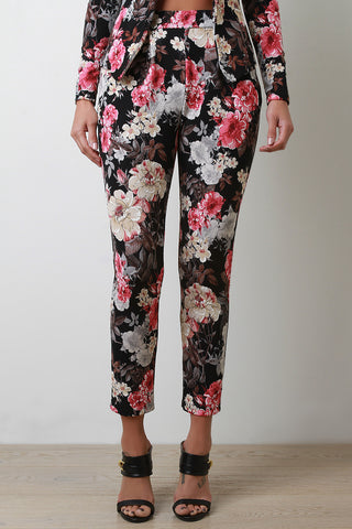 Textured Knit Floral High Waisted Pants - Beauty & Bronze Clothing and Accessories