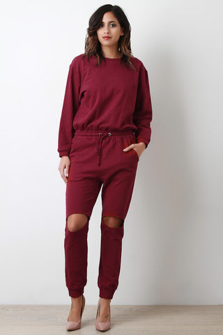 Drawstring Cut Out Knee Thick Knit Jumpsuit - Beauty & Bronze Clothing and Accessories