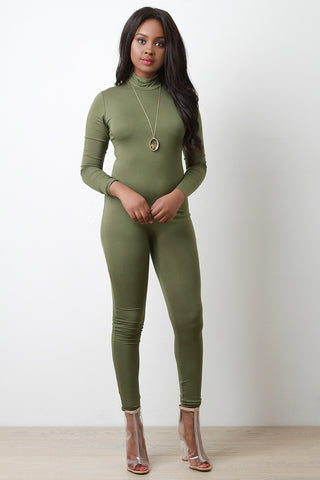 Jersey Knit Mock Neck Jumpsuit - Beauty & Bronze Clothing and Accessories