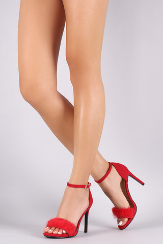 Furry One Band Ankle Strap Stiletto Heel - Beauty & Bronze Clothing and Accessories