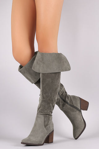Breckelle Suede Cuff Pointy Toe Block Heeled Over-The-Knee Boots - Beauty & Bronze Clothing and Accessories