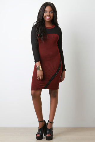 Contrast Rib Knit Button Detail Midi Dress - Beauty & Bronze Clothing and Accessories
