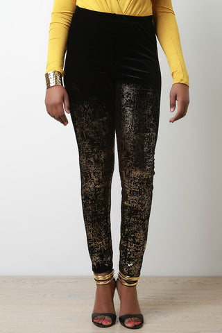 Metallic Foil Velvet Leggings - Beauty & Bronze Clothing and Accessories