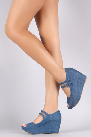 Bamboo Denim Double Mary Jane Strap Platform Wedge - Beauty & Bronze Clothing and Accessories