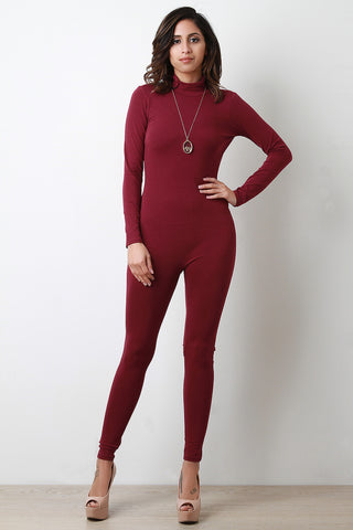 Jersey Knit Mock Neck Long Sleeve Jumpsuit - Beauty & Bronze Clothing and Accessories