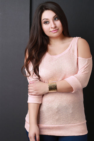 Casual Ribbed Knit Round Neck Cold Shoulder Top - Beauty & Bronze Clothing and Accessories