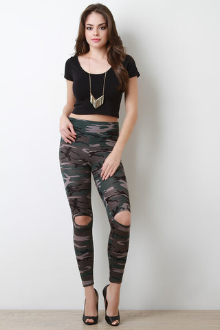Camouflage Print Cut Out Leggings - Beauty & Bronze Clothing and Accessories