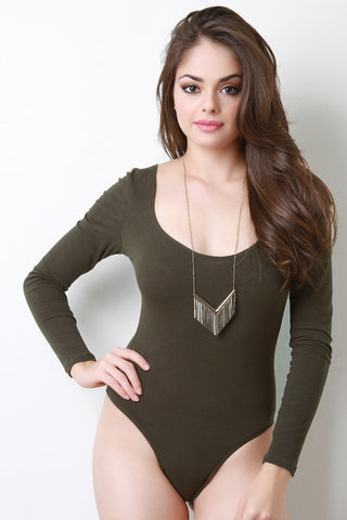 Jersey Knit Scoop Neck Long Sleeve Bodysuit - Beauty & Bronze Clothing and Accessories