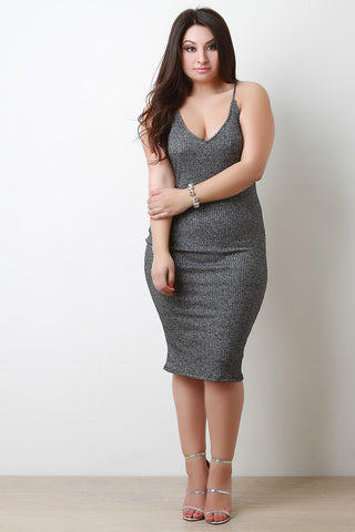 Caged Back Metallic Ribbed Knit Midi Dress - Beauty & Bronze Clothing and Accessories