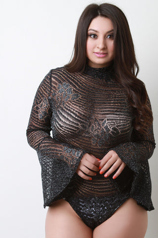Bell Sleeve Metallic Knit Bodysuit - Beauty & Bronze Clothing and Accessories