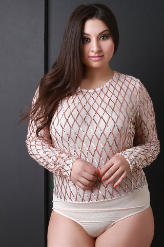 Diamond Pattern Sequin Long Sleeve Mesh Bodysuit - Beauty & Bronze Clothing and Accessories
