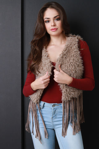 Faux Fur Fringe Vest - Beauty & Bronze Clothing and Accessories