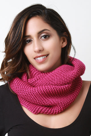 Cozy Simple Knit Circle Scarf - Beauty & Bronze Clothing and Accessories