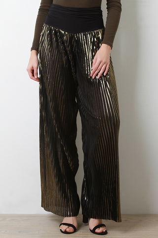 Metallic Accordion Pleated Wide Leg Pants - Beauty & Bronze Clothing and Accessories