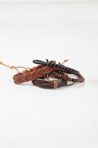 Leather And Wood Bracelet Set - Beauty & Bronze Clothing and Accessories