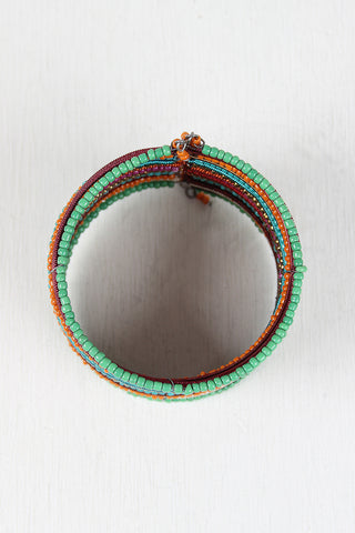 Multi Color Beaded Cuff - Beauty & Bronze Clothing and Accessories