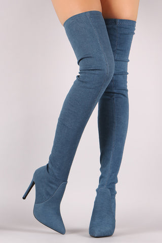 Fitted Denim Pointy Toe Stiletto Over-The-Knee Boots - Beauty & Bronze Clothing and Accessories