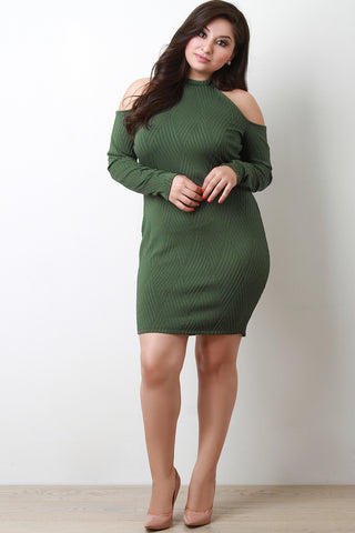 Basket Weave Textured Cold Shoulder Dress - Beauty & Bronze Clothing and Accessories
