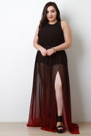 Dip Dye Chiffon Maxi Dress - Beauty & Bronze Clothing and Accessories
