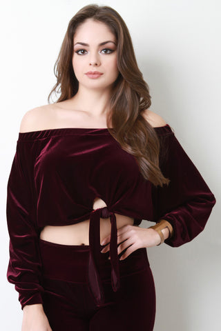 Bardot Tied Waist Velvet Top - Beauty & Bronze Clothing and Accessories