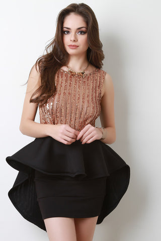 Sequin Mesh Stripe High Low Peplum Top - Beauty & Bronze Clothing and Accessories