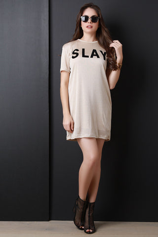 Slay Graphic Print Tunic Shift Dress