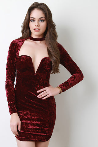 Crushed Velvet Open Chest Wired Neck Long Sleeves Mini Dress - Beauty & Bronze Clothing and Accessories