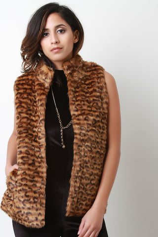 Faux Fur Leopard Mock Neck Vest - Beauty & Bronze Clothing and Accessories